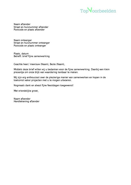 samenwerking brief voorbeeld Brief fijne samenwerking