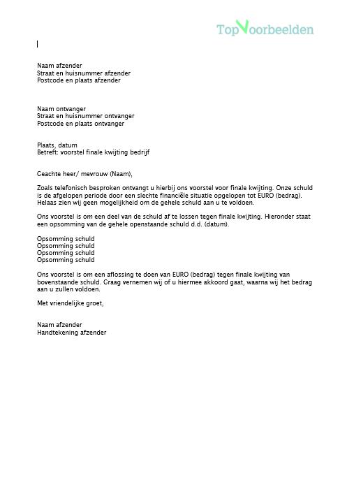 brief finale kwijting voorbeeld Brief finale kwijting