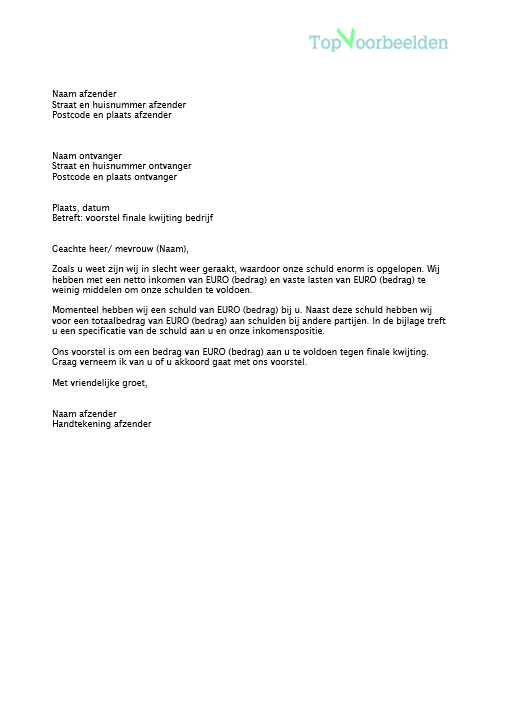 voorbeeld voorstel brief Brief finale kwijting