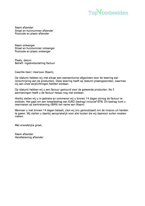 voorbeeld ingebrekestelling brief Brief ingebrekestelling