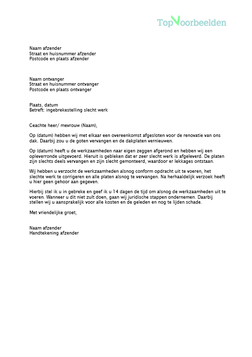 in gebreke stellen voorbeeldbrief Brief ingebrekestelling
