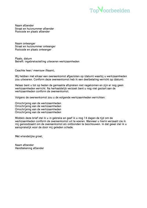 voorbeeldbrief ingebrekestelling Brief ingebrekestelling
