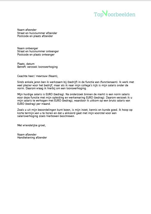 salarisverhoging brief voorbeeld Brief loonsverhoging