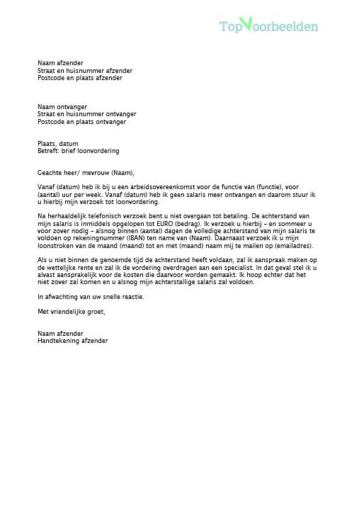loonvordering brief voorbeeld Brief loonvordering