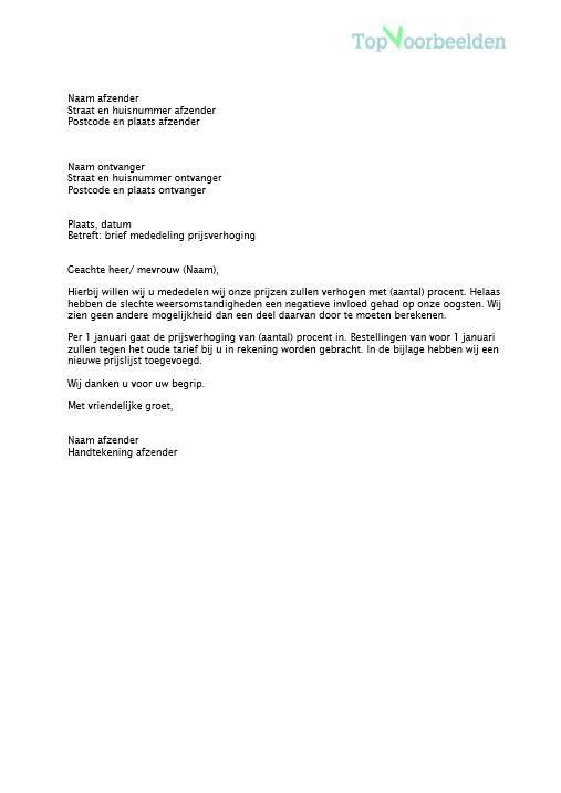 voorbeeldbrief prijsverhoging Brief mededeling