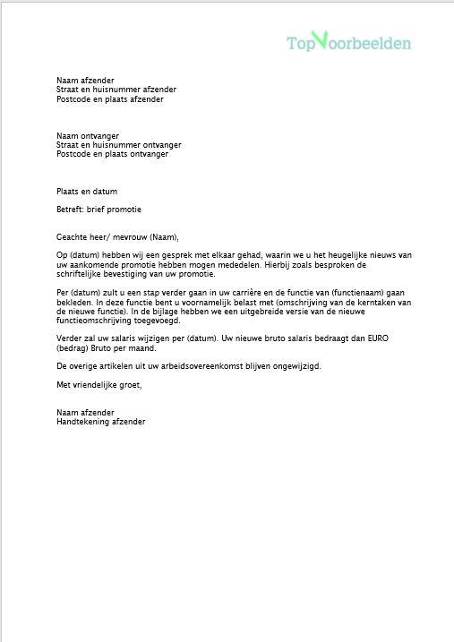 promotie brief voorbeeld Brief promotie