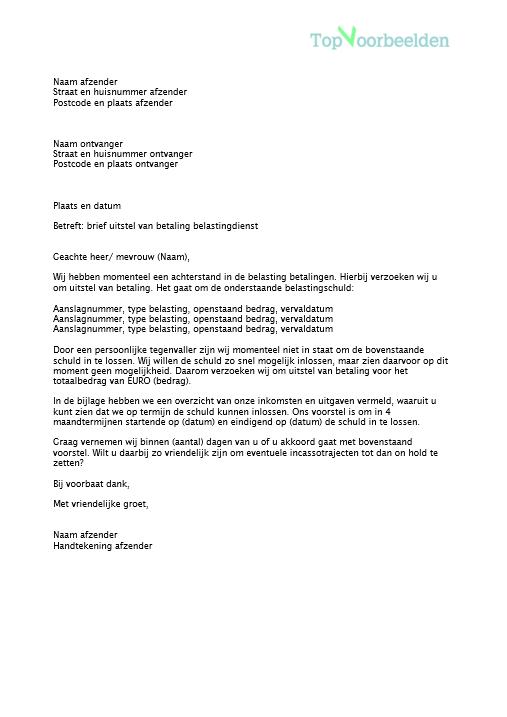 brief uitstel van betaling