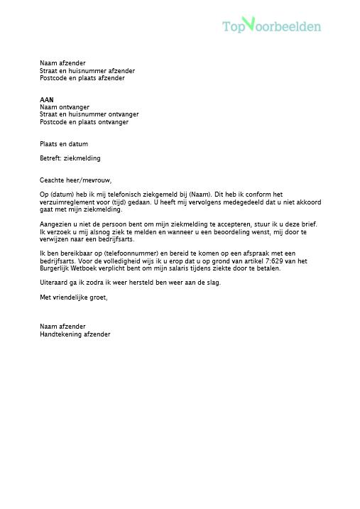 ziekmelden brief voorbeeld Brief ziekmelding