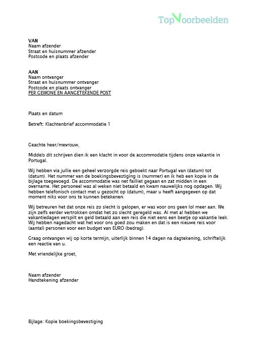 voorbeeld van een klachtenbrief Klachtenbrief accommodatie