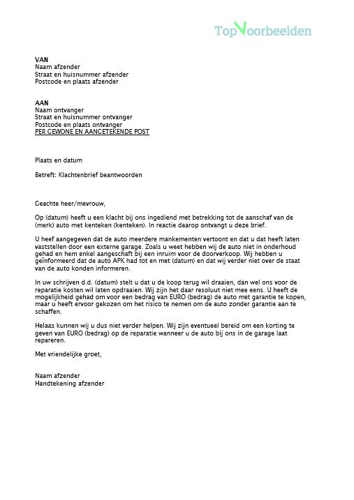 klachtenbrief beantwoorden voorbeeld Klachtenbrief beantwoorden
