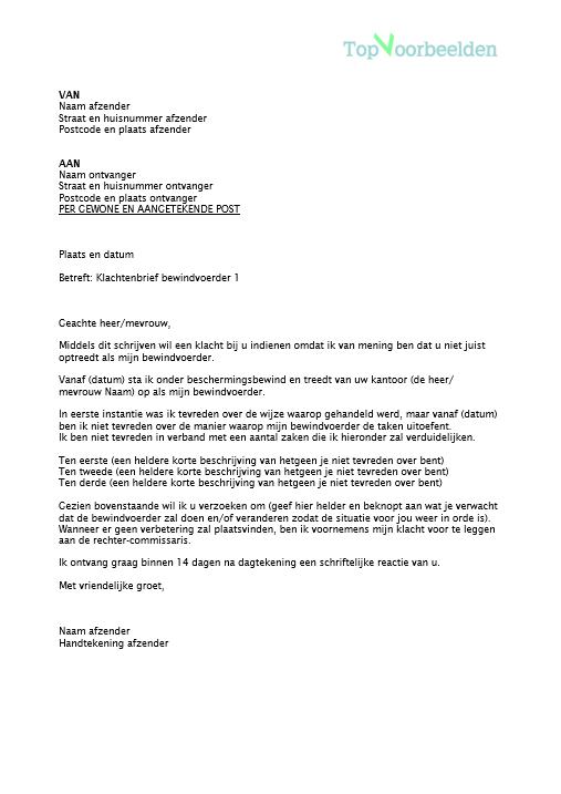 reactie op een klachtenbrief Klachtenbrief