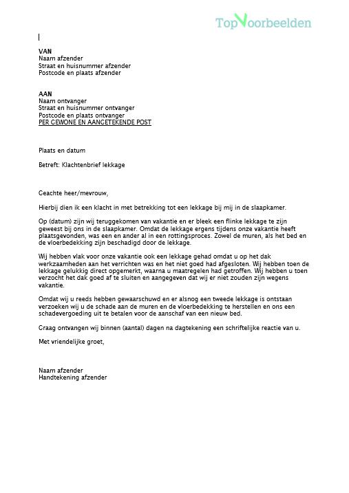 voorbeeld klachtenbrief vakantie Klachtenbrief lekkage
