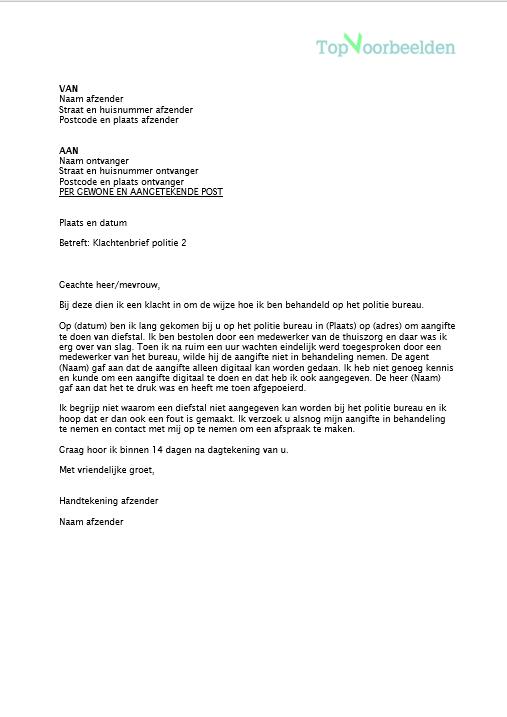 voorbeeld klachtenbrief politie Klachtenbrief politie