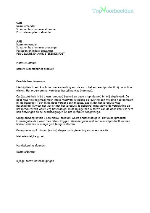 klachtenbrief product Klachtenbrief product