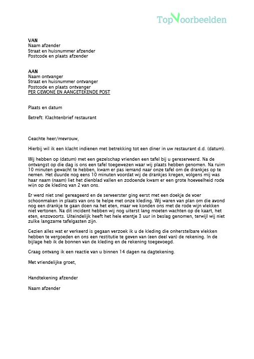 opbouw klachtenbrief Klachtenbrief