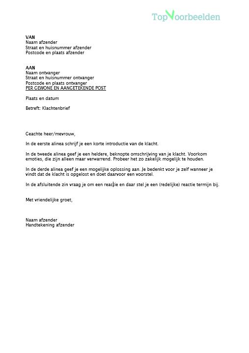 voorbeeld van klachtenbrief
