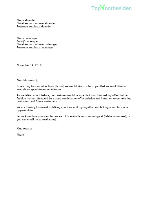 opbouw engelse brief Engelse zakelijke brief
