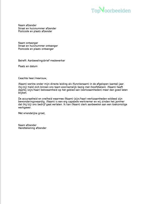 aanbevelingsbrief schrijven voorbeeld Aanbevelingsbrief