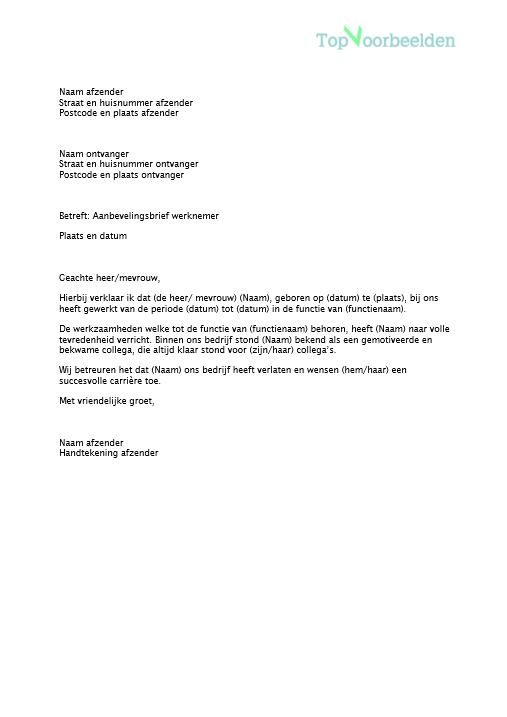 voorbeeld aanbevelingsbrief werknemer Aanbevelingsbrief