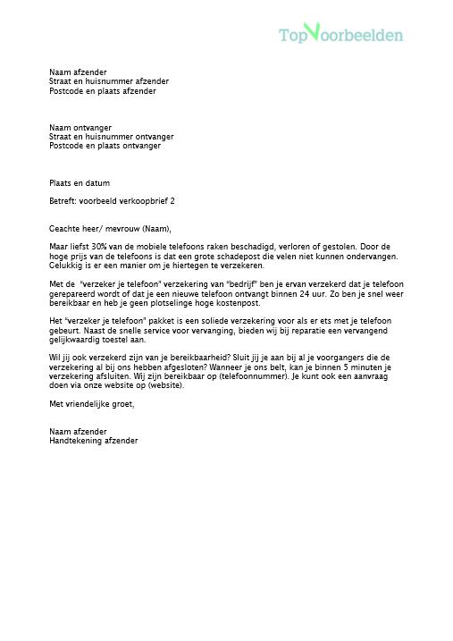 voorbeeld verkoopbrief brief Voorbeeld verkoopbrief