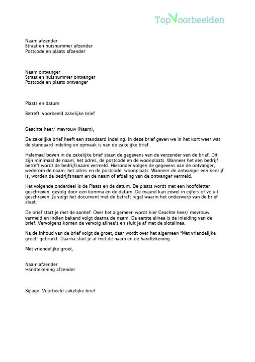 formele brief aanhef Voorbeeld zakelijke brief