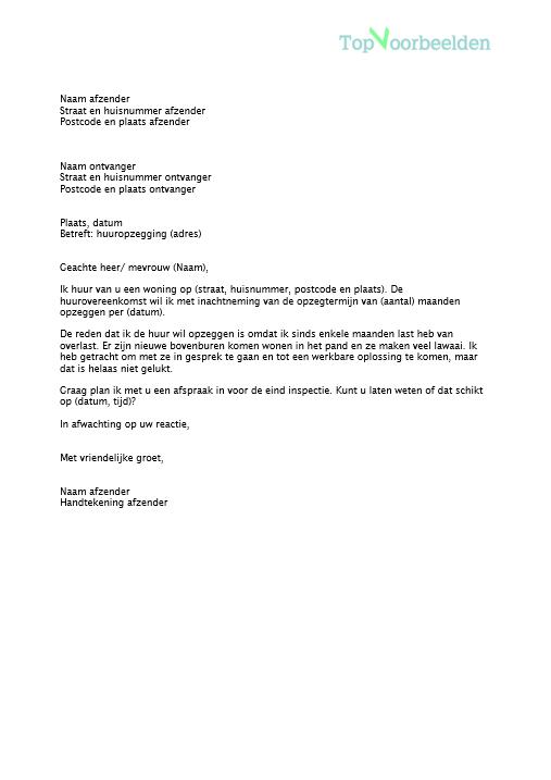 Brief huuropzegging huurder for Topdeq hunenberg