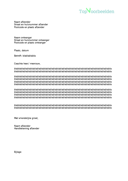 opbouw officiele brief Zakelijke brief